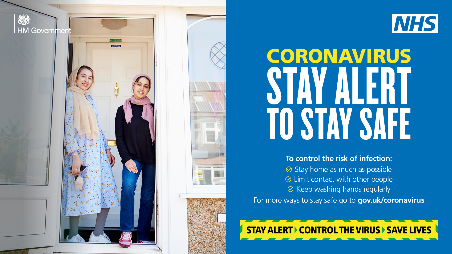Coronavirus stay alert to stay safe, household bubble standing in doorway