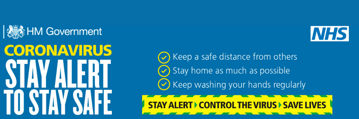 Coronavirus, stay alert to stay safe, keep a safe distance from others, stay home as much as possible, keep washing your hands regularly, blue background, stay alert slogan