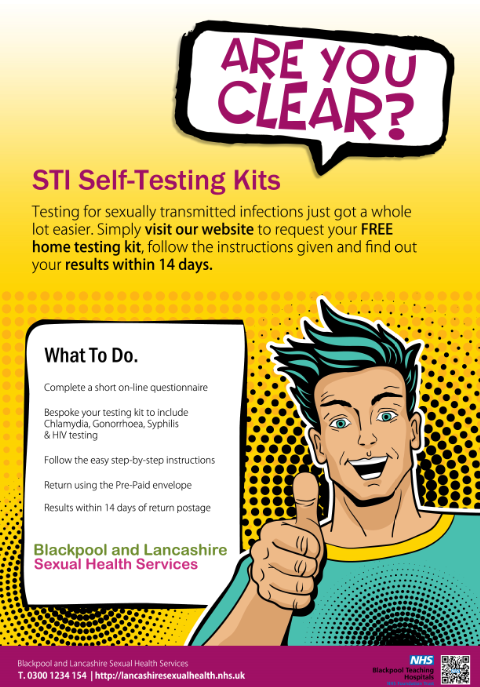 Are you clear? Pop art cartoon male with thumbs up, STI self-testing kit process