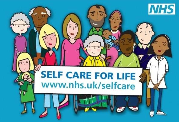 Selection of cartoon characters holding 'self care for life' banner, blue background, NHS logo in top right